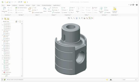 Figura 10 – ModelamentoCruzeta e Biela modeladas em CAD PTCCreo 2.0